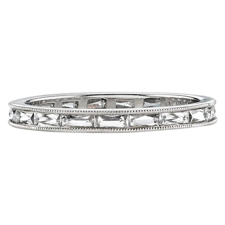Approx. 0.90 Carat French Cut Diamonds Set in a Platinum Eternity Band For Sale