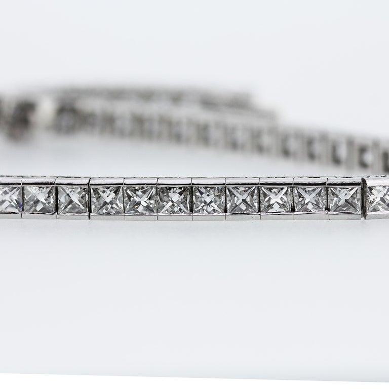 Women's Art Deco 1920 French Cut Diamond Line Tennis Bracelet in Platinum For Sale
