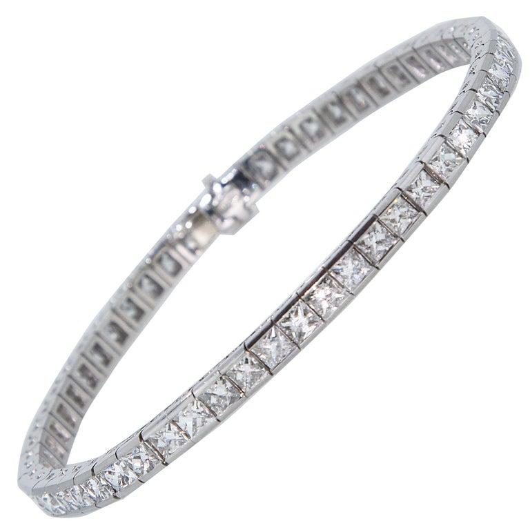 Art Deco 1920 French Cut Diamond Line Tennis Bracelet in Platinum For Sale