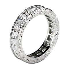 French Cut Diamond Platinum Channel Set Band by Leon Mege