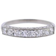 French Cut Diamond Platinum Half Band Ring