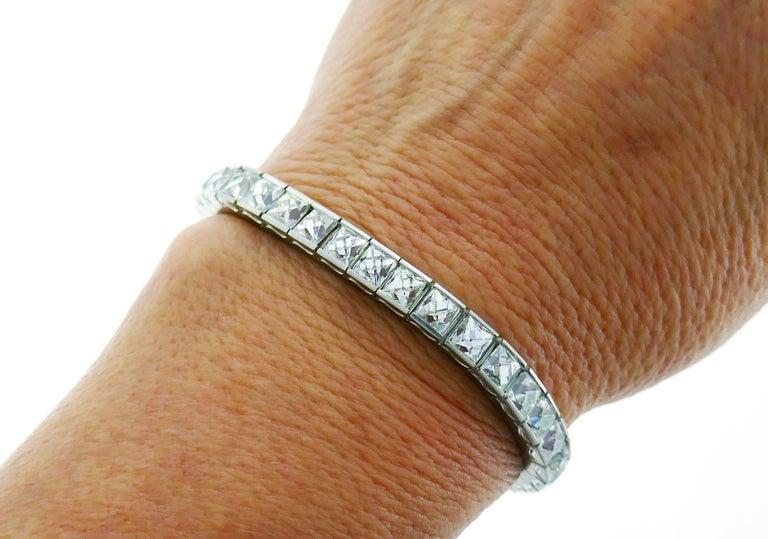 Art Deco French Cut Diamond Platinum Tennis Line Bracelet, 1960s For Sale