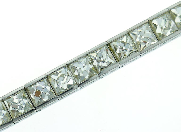 French Cut Diamond Platinum Tennis Line Bracelet, 1960s For Sale 1