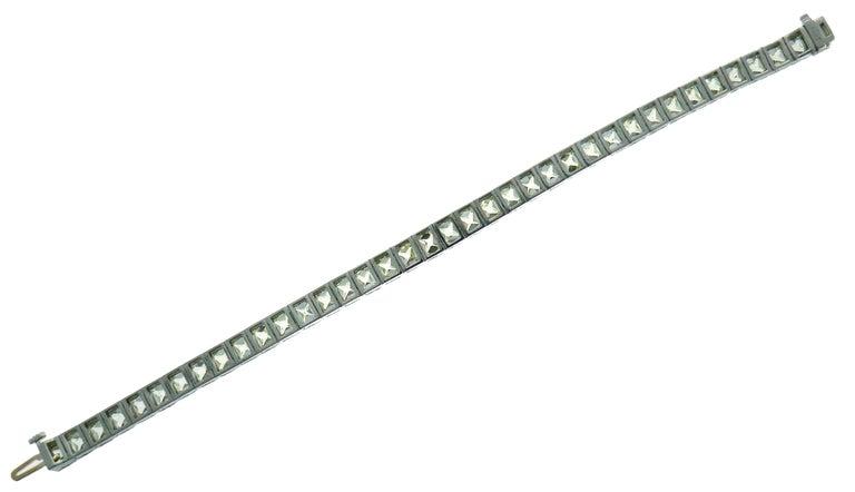 French Cut Diamond Platinum Tennis Line Bracelet, 1960s For Sale 3