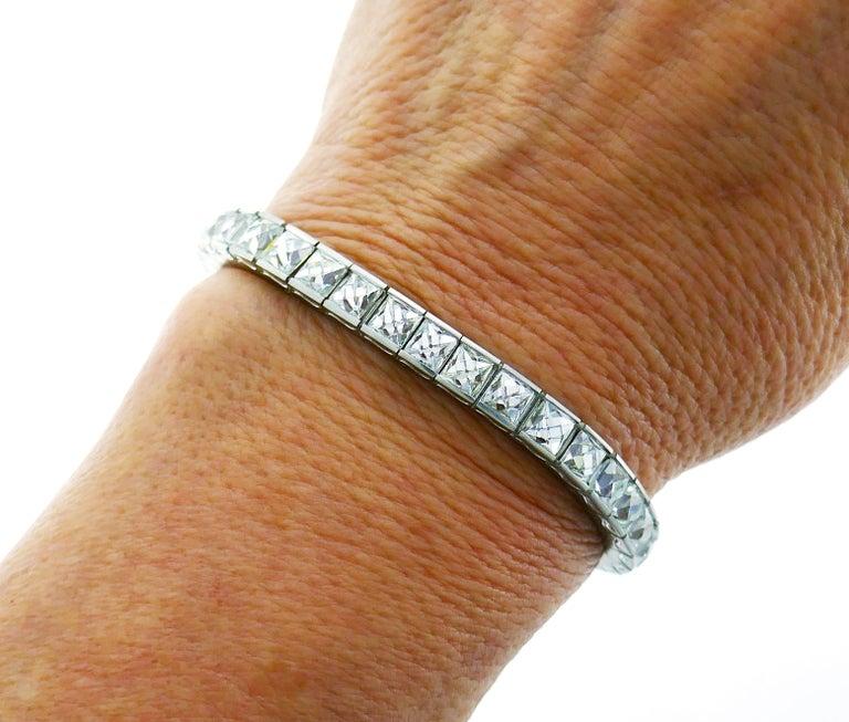 French Cut Diamond Platinum Tennis Line Bracelet, 1960s For Sale 4