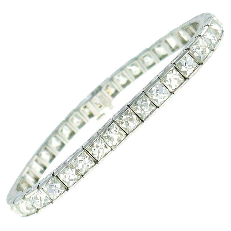 French Cut Diamond Platinum Tennis Line Bracelet, 1960s For Sale