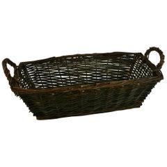 French Cut Flower Rattan Basket/Folk Art