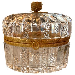 French Cut Glass and Gilt Brass Box