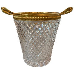 French Cut Glass and Metal Cachepot