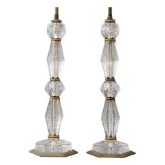 French-Cut Glass Lamps with Etched Floral Decorations