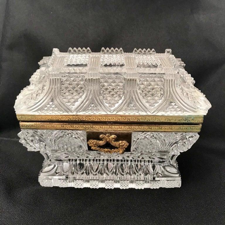 French Cut Lead Crystal Dresser Casket For Sale 6