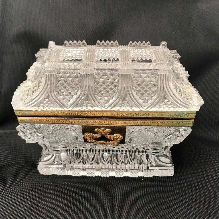 French Cut Lead Crystal Dresser Casket For Sale 8