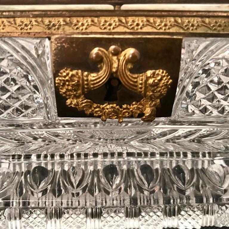 French Cut Lead Crystal Dresser Casket For Sale 9