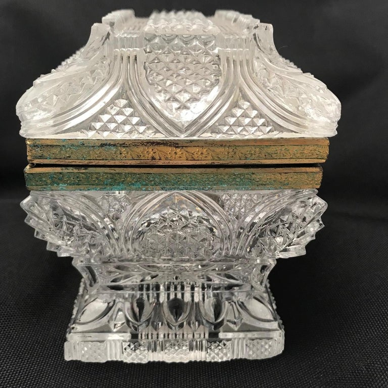 French Cut Lead Crystal Dresser Casket For Sale 10