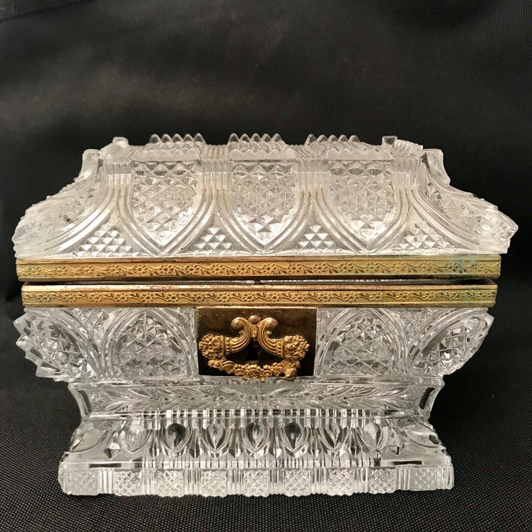 French Cut Lead Crystal Dresser Casket For Sale 1