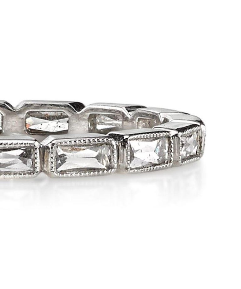 Handcrafted French Cut Diamond Platinum Eternity Band In New Condition For Sale In Los Angeles, CA