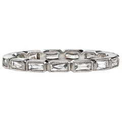 Handcrafted French Cut Diamond Platinum Eternity Band
