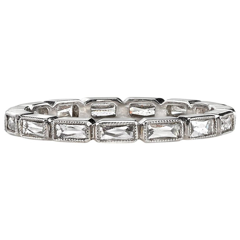 Handcrafted French Cut Diamond Platinum Eternity Band For Sale