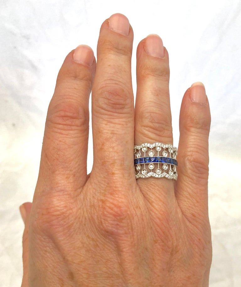 Women's or Men's French Cut Sapphire and Diamond Ring For Sale