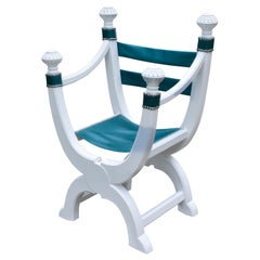 French Dagobert Chair in White Painted Oak and Leather Seat, circa 1890