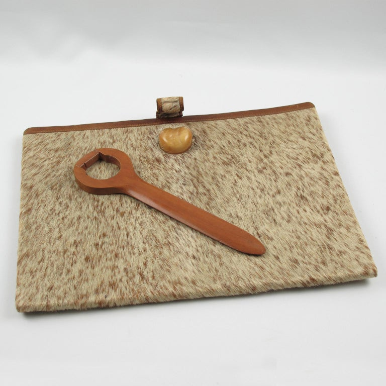 Mid-20th Century French Dan Karner Art Deco Pony Skin Fur and Leather Desk Set, 5 Pieces For Sale
