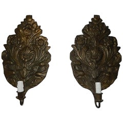 """French Dark Tinned Copper """"Palm"""" Floral Embossed Sconces, circa 1800"""