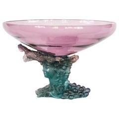 French Daum Bacchus Large Green Amethyst Vase-Centerpiece pâté de verre