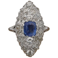 French Deco 1.70 Ct Natural No Heat Sapphire 2.20 Carat Old Cut Diamond Platinum