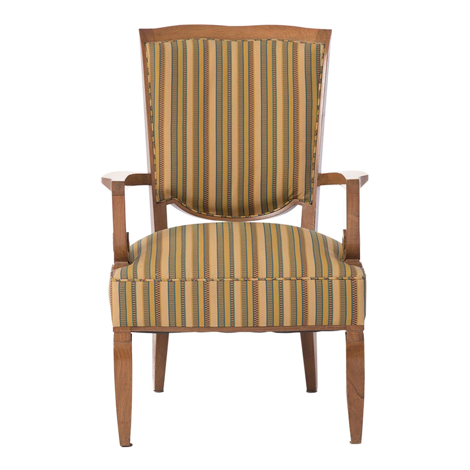 French Deco Armchair in Cuban Mahogany by Jules Leleu