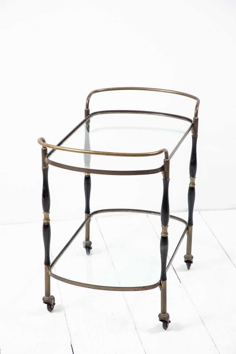French Deco Black and Brass Bar Cart 6