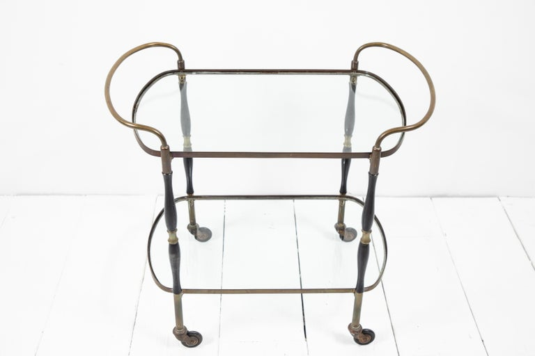 French Deco Black and Brass Bar Cart 1