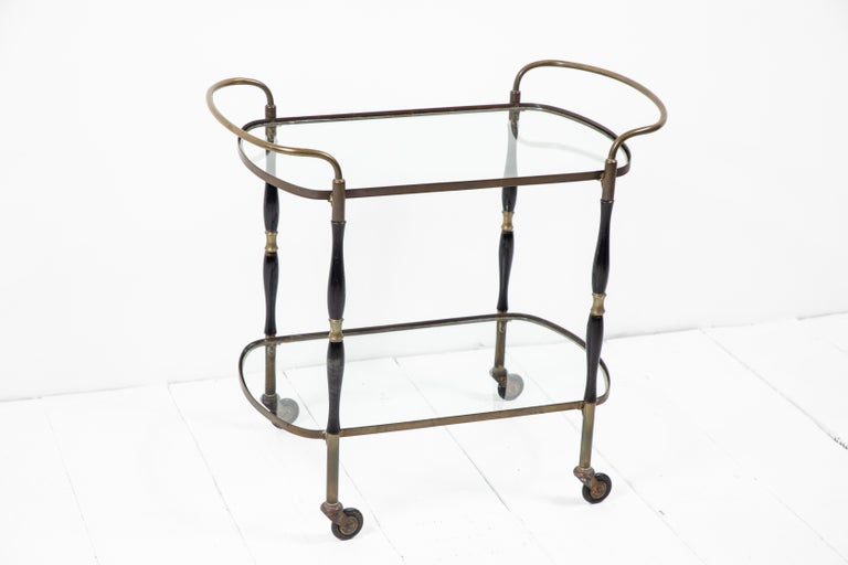 French Deco Black and Brass Bar Cart 5