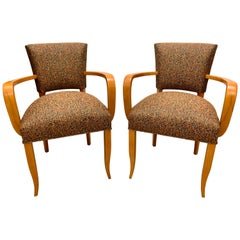 French Deco Bridge/ Side-Chairs with Arms, Pair
