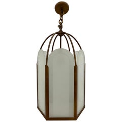 French Deco Bronze & Frosted Glass Single Light Hexagon Pendant Chandelier