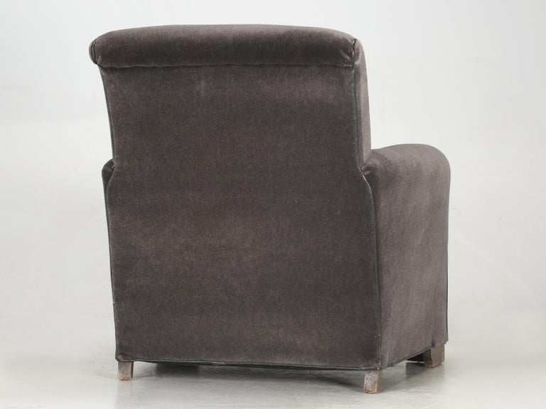 French Deco Club Chair Restored in Mohair For Sale 6
