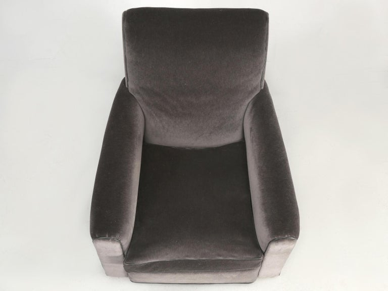 Art Deco French Deco Club Chair Restored in Mohair For Sale