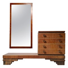 French Deco Exotic Wood Vanity Mirror Chest of Drawers manner of Paul Frankl