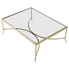 French Deco Gilt Twist Arch Base Gold Laurel Leaf Coffee Table