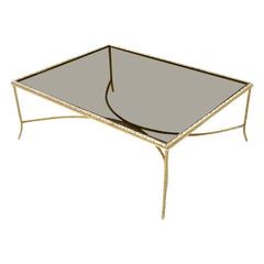 French Deco Gilt Twist Arch Base Gold Laurel Leaf Coffee Table