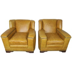 French Deco Leather Armchairs with Nailheads, Pair