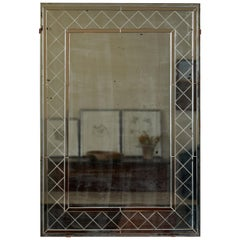 French Deco Mirror with Beveled Details