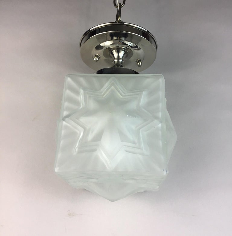 1-3059abc Frosted French star flushmount. Takes one 100 watt Edison based bulb 3 available.