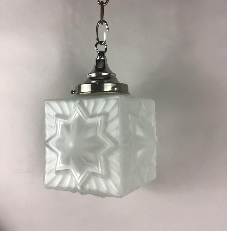 Art Glass French Deco Star Nautical Pendant For Sale