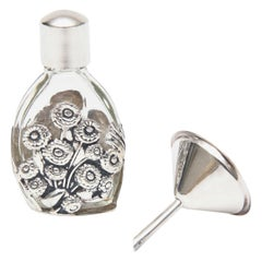 French Deco Sterling Silver & Glass Traveling Perfume Bottle and Funnel