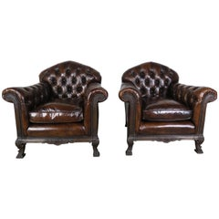 French Deco Style Leather Tufted Armchairs, Pair