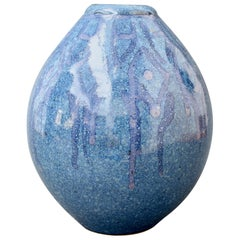 French Decorative Blue Ceramic Vase 'circa 1970s'