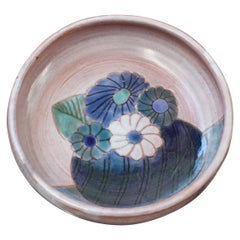 French Decorative Ceramic Bowl with Flowers Motif by the Frères Cloutier, Small
