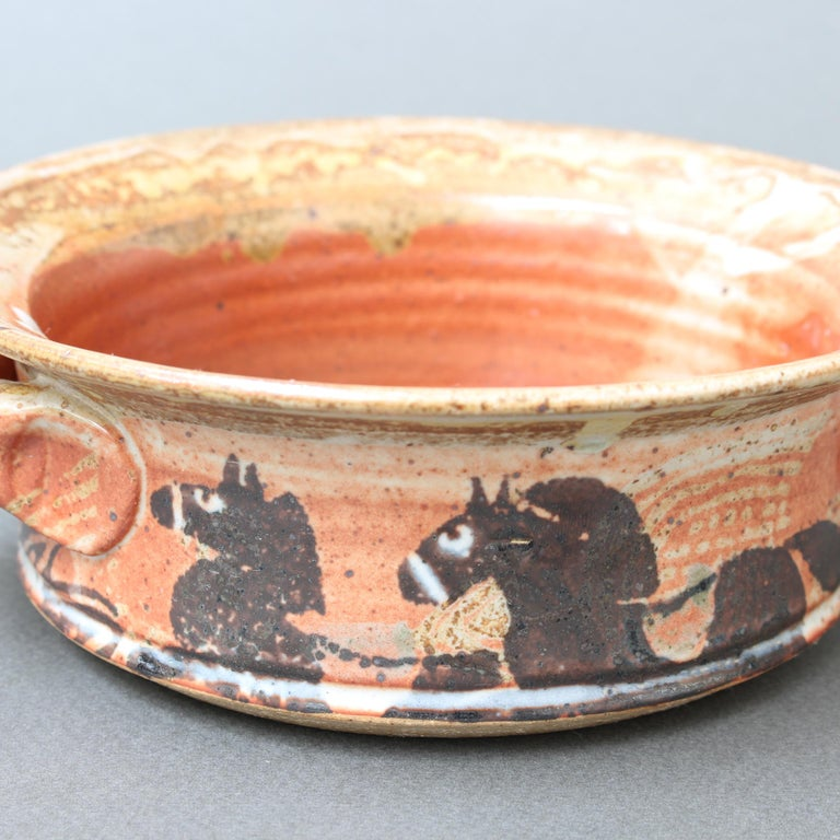 French Decorative Ceramic Bowl with Horse Motif 'circa 1950s' For Sale 8