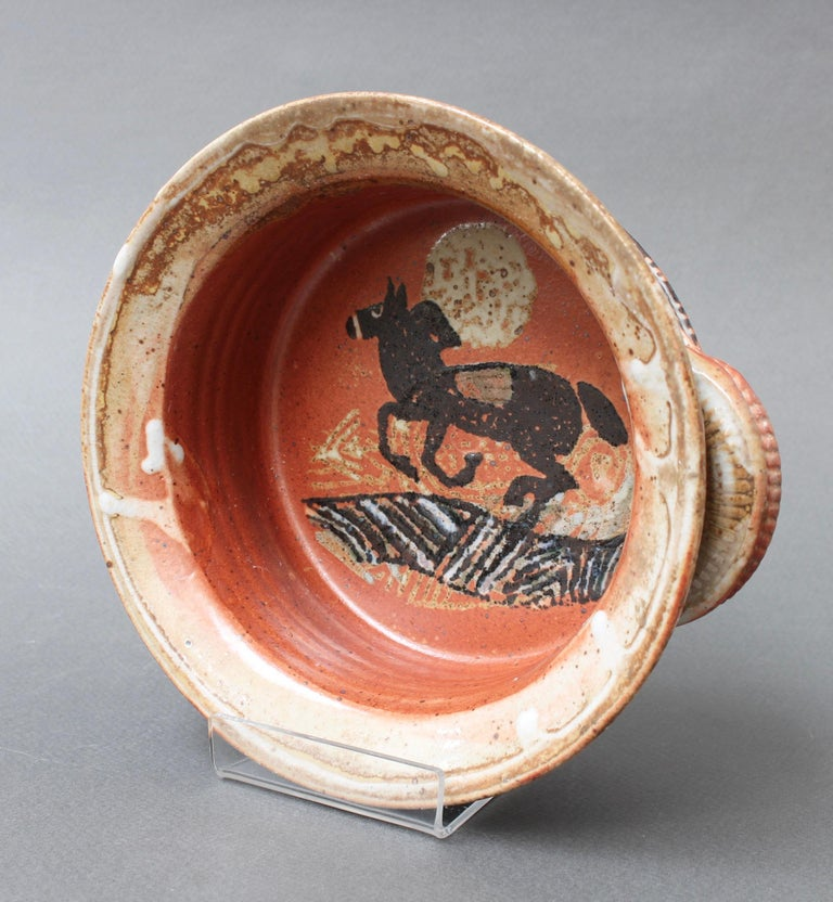 Hand-Painted French Decorative Ceramic Bowl with Horse Motif 'circa 1950s' For Sale