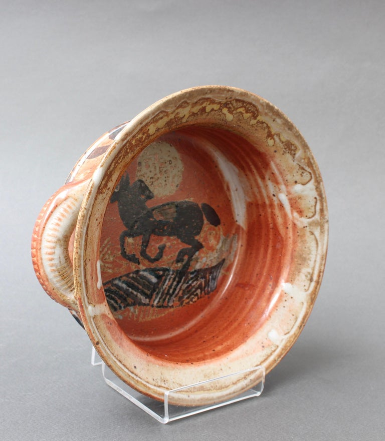 French Decorative Ceramic Bowl with Horse Motif 'circa 1950s' For Sale 3